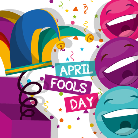 jester hat and emoticons confetti - april fools day vector illustration Illustration