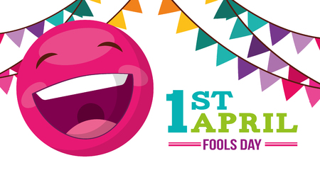 banner with emoticon happy garland decoration - april fools day vector illustration