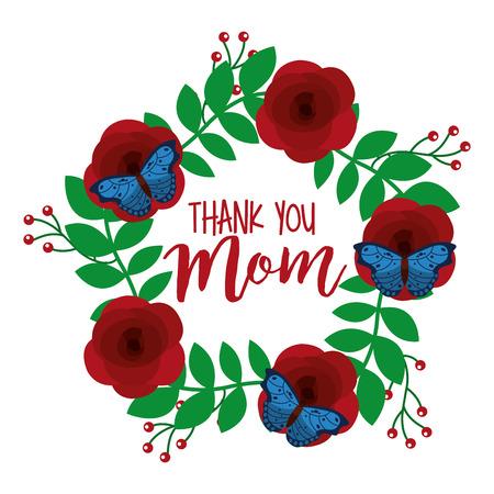 red peony flower butterflies wreath decoration thank you mom vector illustration Ilustração