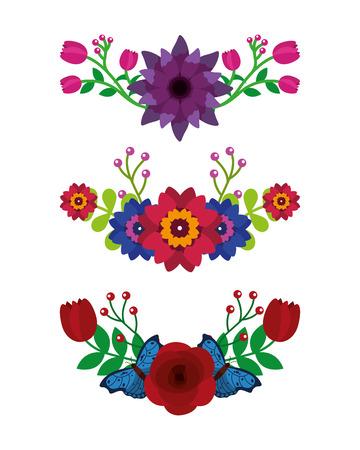 set of differents flowers leaves butterflies decoration vector illustration Illustration