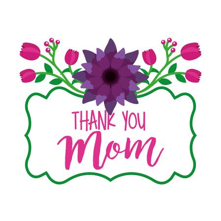 thank you mom label flowers decoration elegance vector illustration Иллюстрация