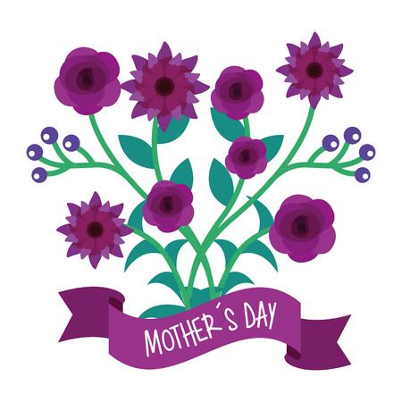 violet flowers and branches natural mothers day banner vector illustration Illustration