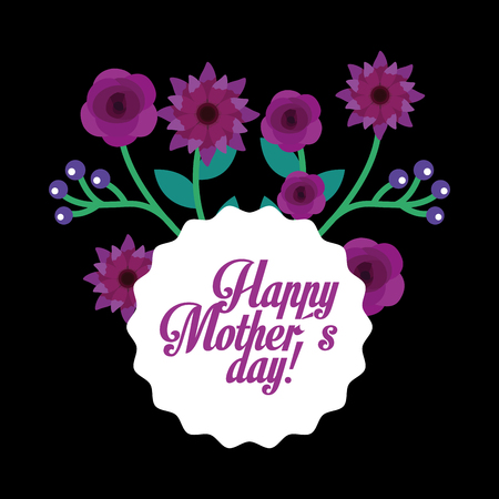 violet flowers decoration ornament round label happy mothers day vector illustration