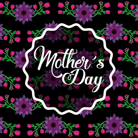 mothers day label decoration on floral bright color dark background vector illustration