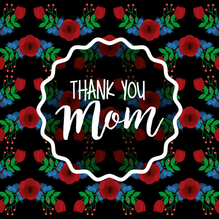 thank mom card decorative floral bright color dark background vector illustration