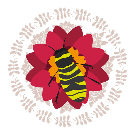 red flower with bee natural decoration round frame leaves vector illustration Illustration