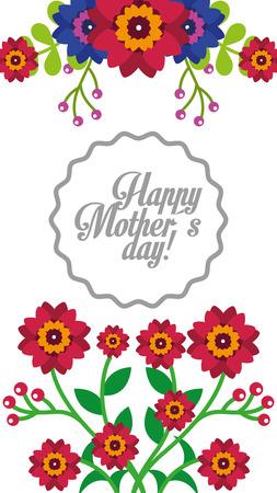delicate invitation with flowers for best mom floral background vintage style vector illustration Illustration