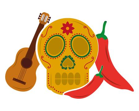 viva mexico skull guitar chili pepper vector illustration Illustration