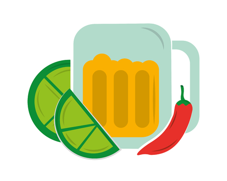 viva mexico beer lemon chilli pepper vector illustration