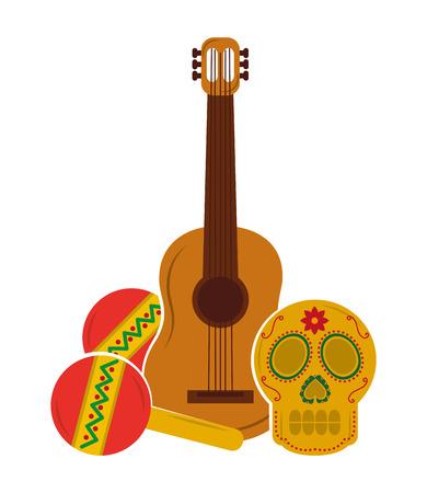 viva mexico guitar skull maracas vector illustration