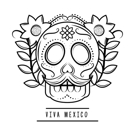 viva mexico skull mustache flowers vector illustration