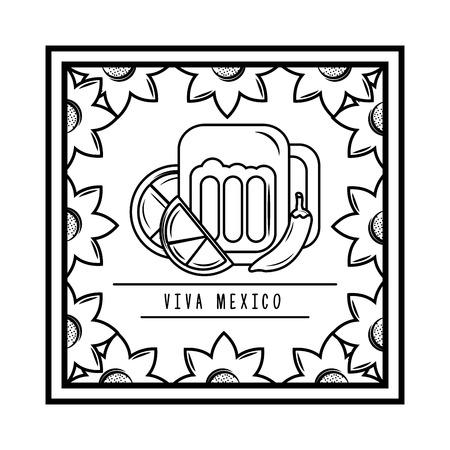 viva mexico beer chili pepper lemon floral frame vector illustration
