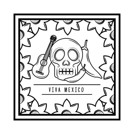 viva mexico skull guitar chili pepper floral frame vector illustration Ilustrace