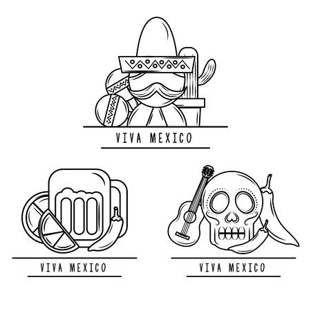 viva mexico man skull beer maracas guitar chili pepper vector illustration 일러스트