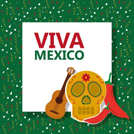 viva mexico skull gitar chili pepper confetti green background vector illustration Illustration