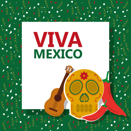 viva mexico skull gitar chili pepper confetti green background vector illustration Foto de archivo - 96500744