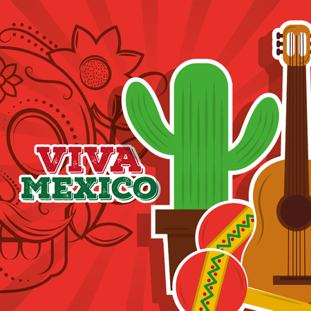 viva mexico potted cactus maracas guitar skull background vector illustration