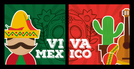 viva mexico banner decoration celebration vector illustration  イラスト・ベクター素材