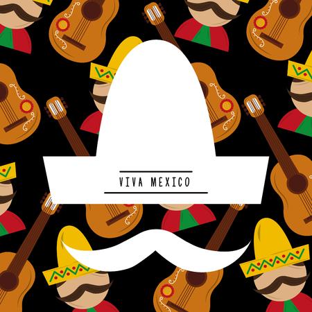 ビバメキシコシルエット白い帽子口ひげ頭蓋骨唐辛子男の背景ベクトルイラスト  イラスト・ベクター素材