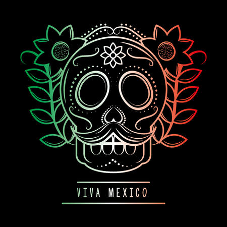 viva mexico skull mustache and flowers degrade green white and red dark background vector illustration