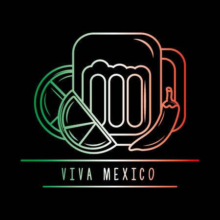 viva mexico beer lemon chili pepper degrade green white and red dark background vector illustration