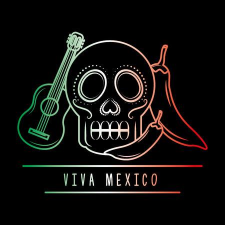 viva mexico skull guitar chili pepper degrade green white and red dark background vector illustration