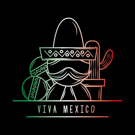 viva mexico man mustache maracas cactus degrade green white and red dark background vector illustration