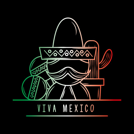 viva mexico man mustache maracas cactus degrade green white and red dark background vector illustration