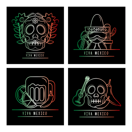 set of viva mexico folklore culture degrade color black background vector illustration