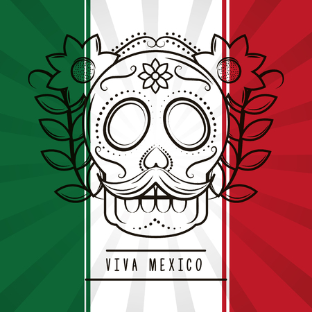 viva mexico skull mustache and flowers mexican flag background vector illustration