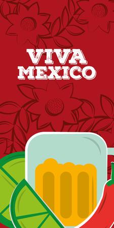 viva mexico beer lemon drink culture vertical banner vector illustration