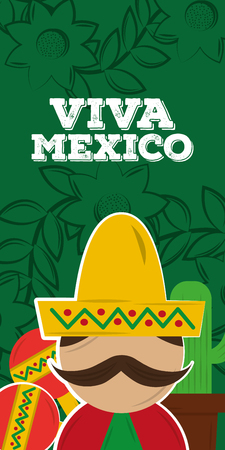 viva mexico mexican man with hat and mustache vertical banner vector illustration