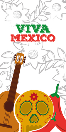 viva mexico skull guitar traditional vertical banner vector illustration Foto de archivo - 96532458