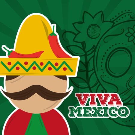 viva mexico man mustache chili pepper skull background vector illustration