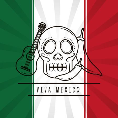 viva mexico skull guitar chili pepper mexican flag background vector illustration