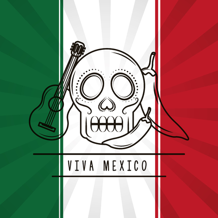 viva mexico skull guitar chili pepper mexican flag background vector illustration