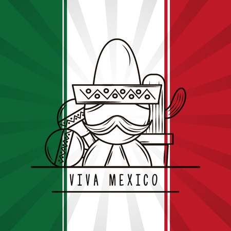 viva mexico man with mustache hat maracas and potted cactus mexican flag background vector illustration Vettoriali