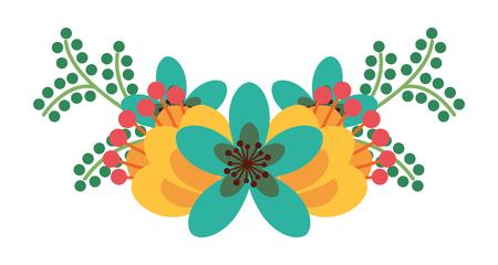 beautiful floral bouquet bunch of flowers arrangement vector illustration Stock Vector - 96500777