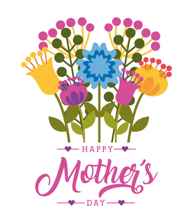 decorative flowers foliage natural- happy mothers day card vector illustration