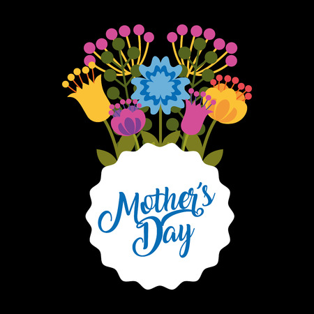 delicate bouquet flowers label - happy mothers day black background vector illustration