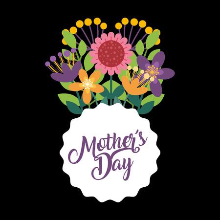 delicate bouquet flowers label - happy mothers day black background vector illustration Zdjęcie Seryjne - 96500792