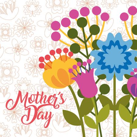 elegant flowers greeting card - happy mothers day vector illustration Stock Illustratie