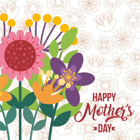 elegant flowers greeting card - happy mothers day vector illustration Stockfoto - 96500800