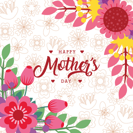 elegant flowers greeting card - happy mothers day vector illustration Stockfoto - 96500801
