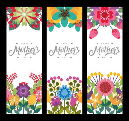 Feliz día de la madre pancartas verticales delicadas flores románticas decoración ilustración vectorial