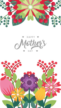 happy mothers day greeting card bunch flowers frame decoration dark background vector illustration Illustration