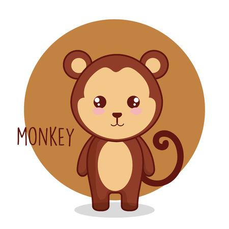 Diseño lindo del ejemplo del vector del carácter tierno del mono Ilustración de vector