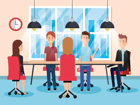 People working in the office vector illustration design