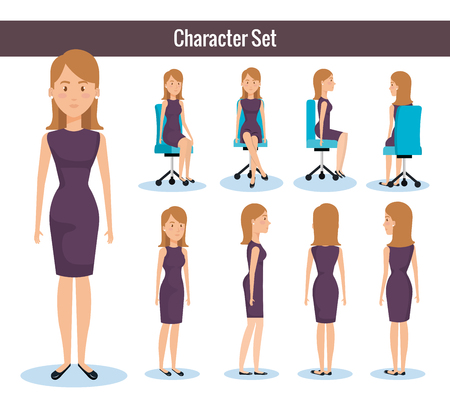 Businesswomen posing on office chair and stand vector illustration design Illustration