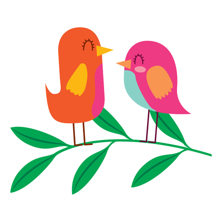 Cute couple birds together in tree branch vector illustration Çizim